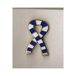 Blue and white scarf badge
