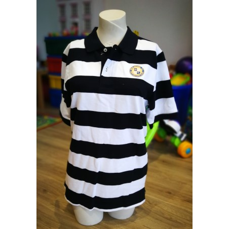 WFCSC Black & White Hooped Polo Shirt