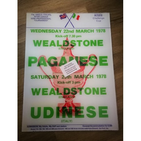 Anglo Italian Cup Acrylic Poster - Paganese / Udinese 1978